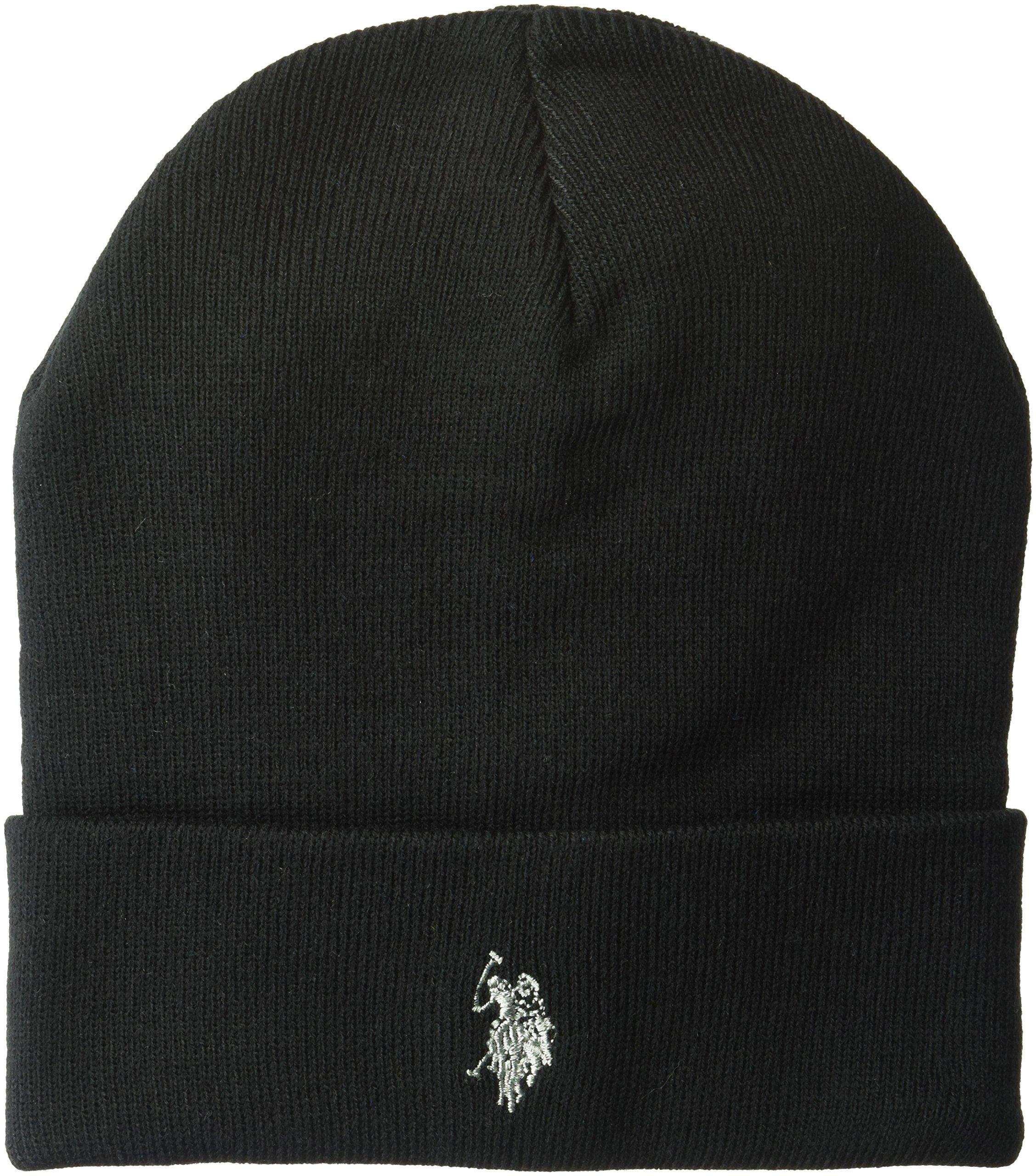 U.S. Polo Assn. Men's Fine Knit Cuffed Winter Beanie, 100% Acrylic, Black, One Size