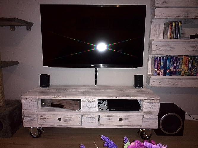 Tv möbel aus europaletten  TV - Rack, Lowboard aus Europaletten in Wunschfarbe: Amazon.de ...