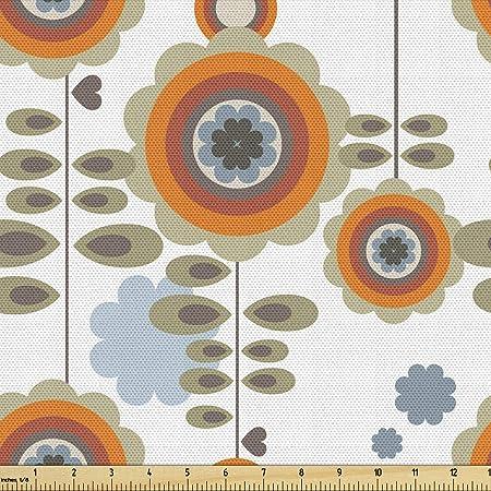 Halloween Vintage orangeblack barkcloth fabric Medium weight Holiday 3 yards in length DIY. Abstract floral print in black 36 wide