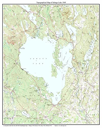Topography Map Of Maine.Amazon Com Sebago Lake Ca 1949 Old Topographic Map Usgs Custom