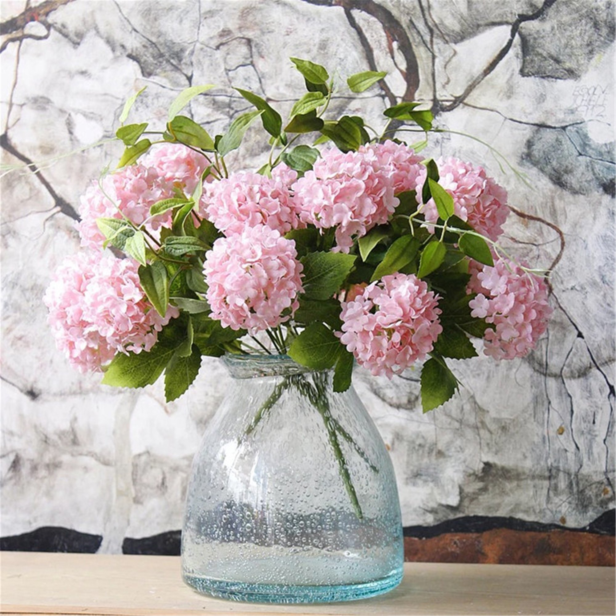 Greentime Mini Artificial Flowers 13'' Silk 7 Head Tiny Hydrangea Bouquet for Wedding, Room, Home, Hotel, Party Decoration and Holiday Gift (Pink)
