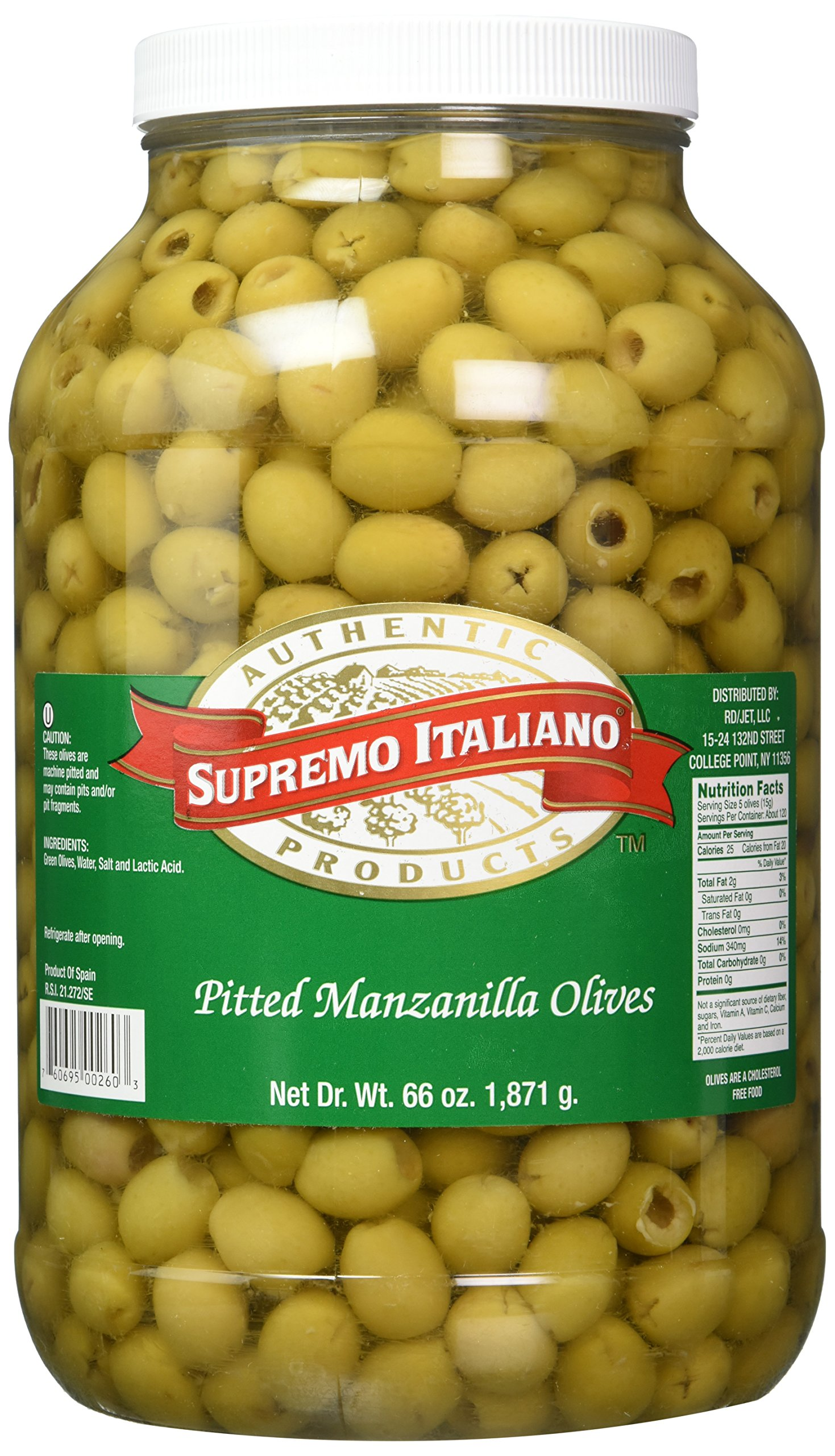 Supremo Italiano Manzanilla Olives Pitted, 128 Ounce