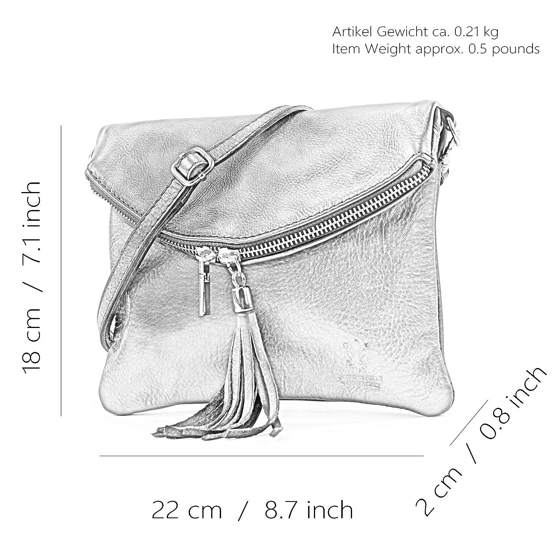 borsa di pelle ital pochette pochette borsa tracolla Ragazze T139 piccola pelletteria