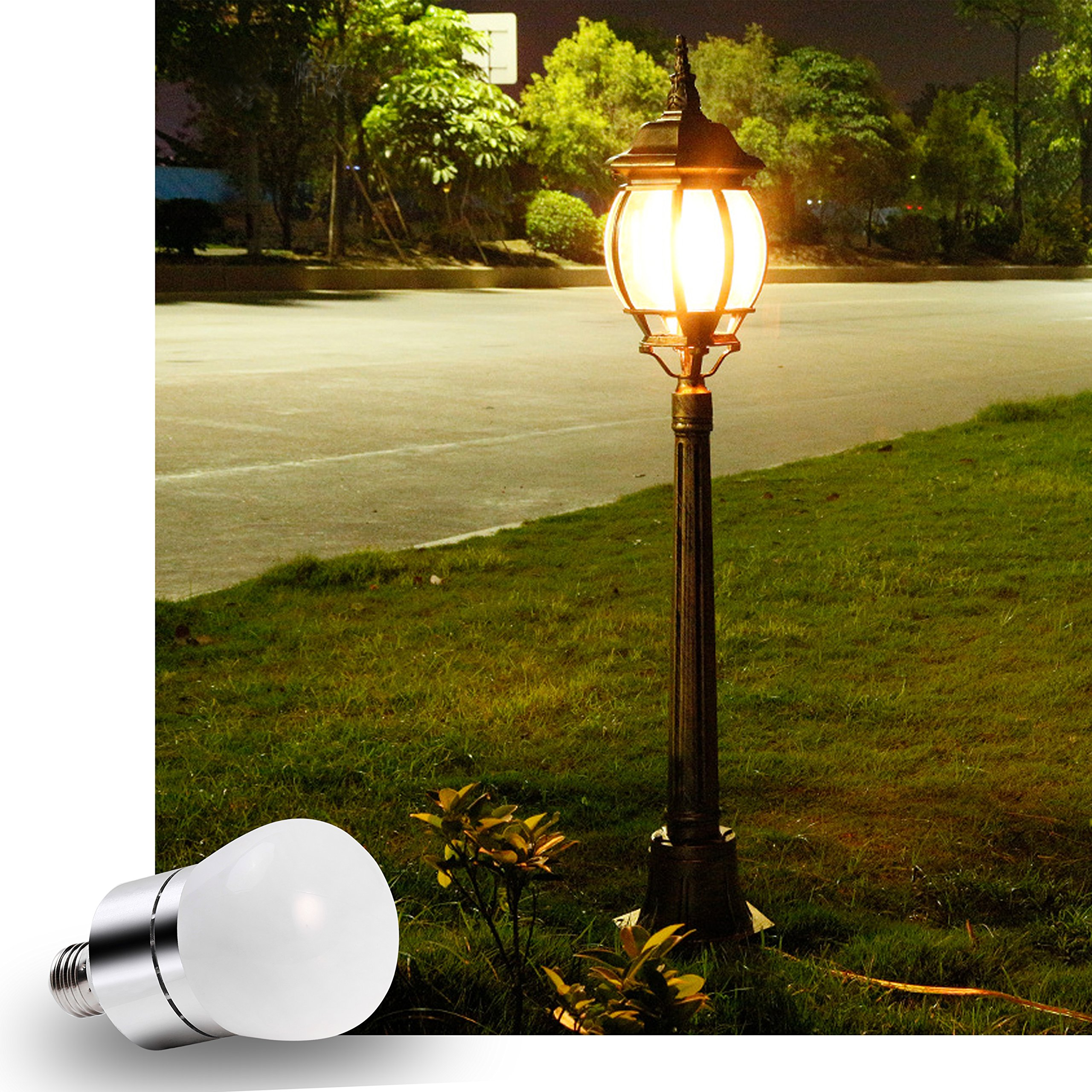 LED Light Bulbs Dusk to Dawn Sensor Lights Bulb Smart Lighting Lamp 12W 1200LM E26/E27 Socket 3200k Auto On/Off Indoor Outdoor Security Light for Porch, Garage, Driveway, Yard, Patio (Warm White) by Vgogfly (Image #6)