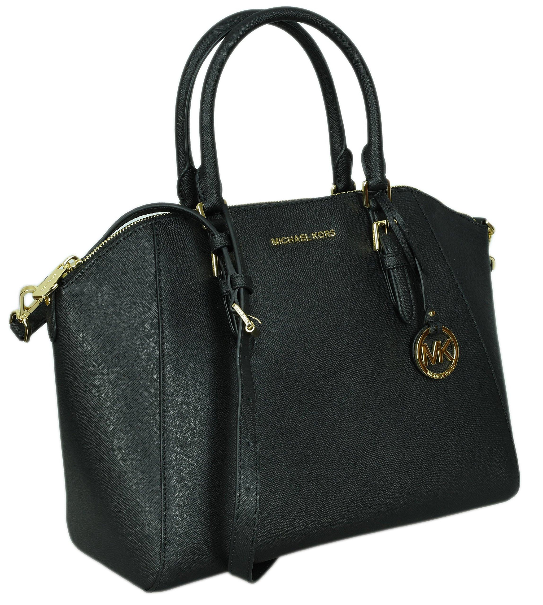 Michael Kors Large Ciara Saffiano Leather Womens Satchel Shoulder Bag (Black)