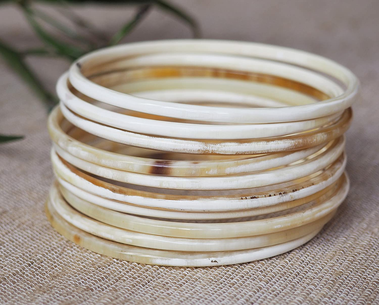 Natural Buffalo Horn Stretch Bracelet handmade