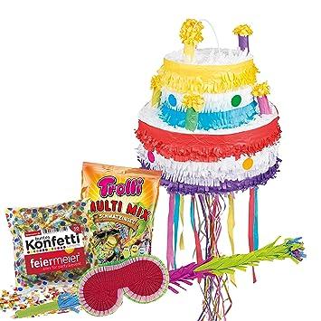 PartyMarty Pinata - Set de Tarta de cumpleaños (piñata ...