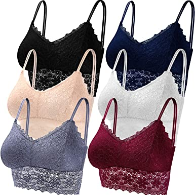 5 Colores Duufin 5 Piezas Bralette Encaje Sujetador de Encaje Tipo Bralette para Mujer y Ni/ña