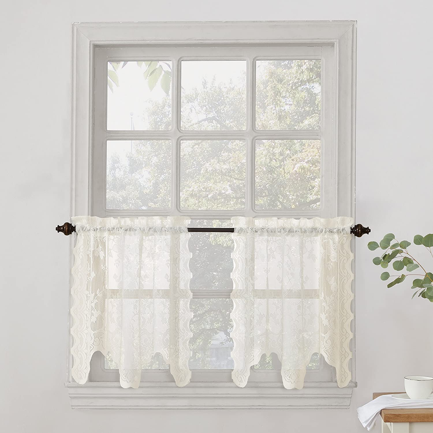 "No. 918 Alison Floral Lace Sheer Kitchen Curtain Tier Pair, 58"" x 24"", Ivory"
