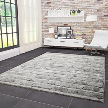 VIMODA Moderner Teppich Wohnzimmer Stein Optik Mauer Muster Strapazierfähig  in Grau 80x300 cm