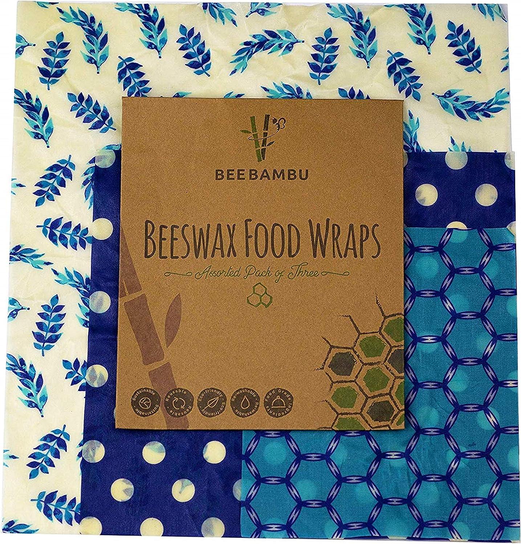 Beeswax Wraps – Juego de 3 (grande, mediano, pequeño) – Cero residuos lavable reutilizable cera de abeja alimentos Wrap – Alternativa a película de adherencia + Bonus PDF E-Book – BEE BAMBU: Amazon.es: Hogar