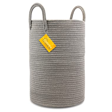 OrganiHaus Cotton Rope Basket in Full Grey | Tall Storage Basket with Long Handles | Decorative Blanket Basket for Living Room and Laundry