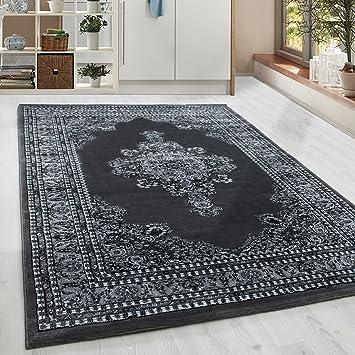 Amazon.de: Klassiker Orient Design Teppich mit Bordüre Schwarz Grau ...