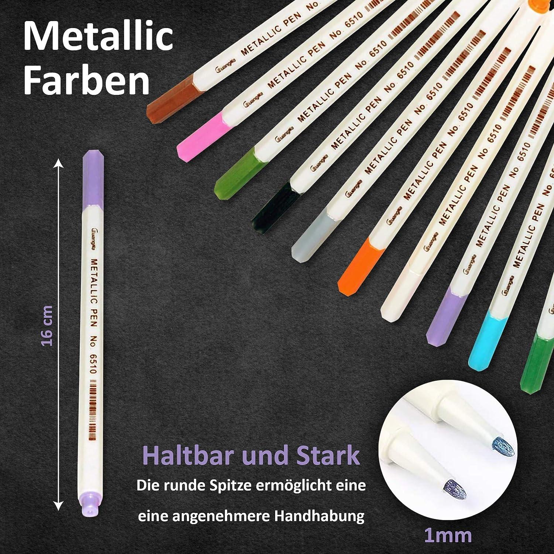 Aufsteller Geburtstag Jubil/äum 10 Jahre Farbe Nu/ßbaum Set G/ästebuch aus Holz mit 10 farbigen Stiften Metallic Marker DARO Design mit Jahreszahlen