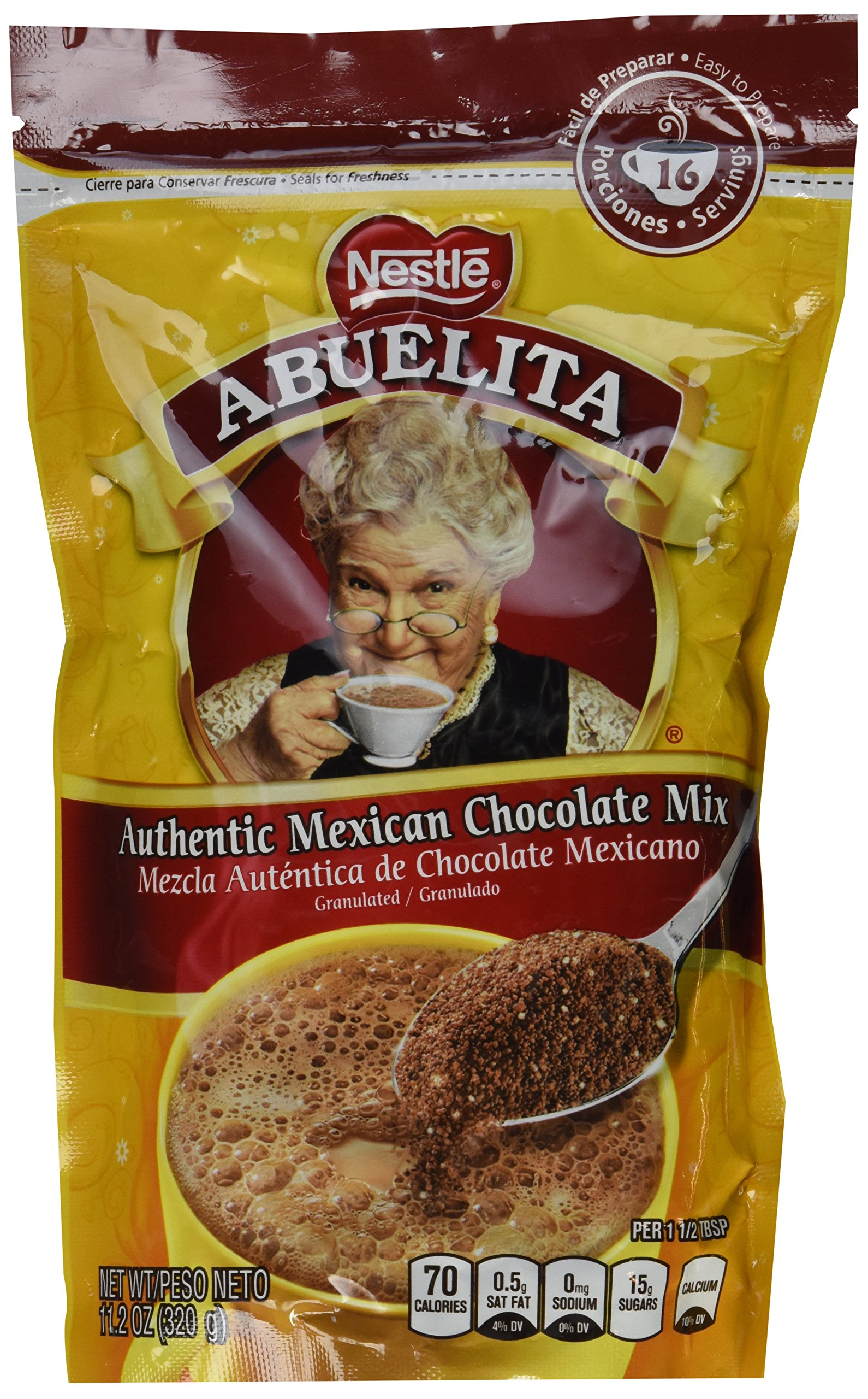 Nestle, Abuelita, Authentic Mexican Chocolate Drink Mix, Chocolate Granules, 11.2oz Pouch (Pack of 4)