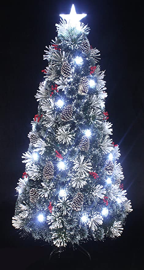 snowy white pine pre lit flocked christmas treeflocked fiber optic christmas tree with