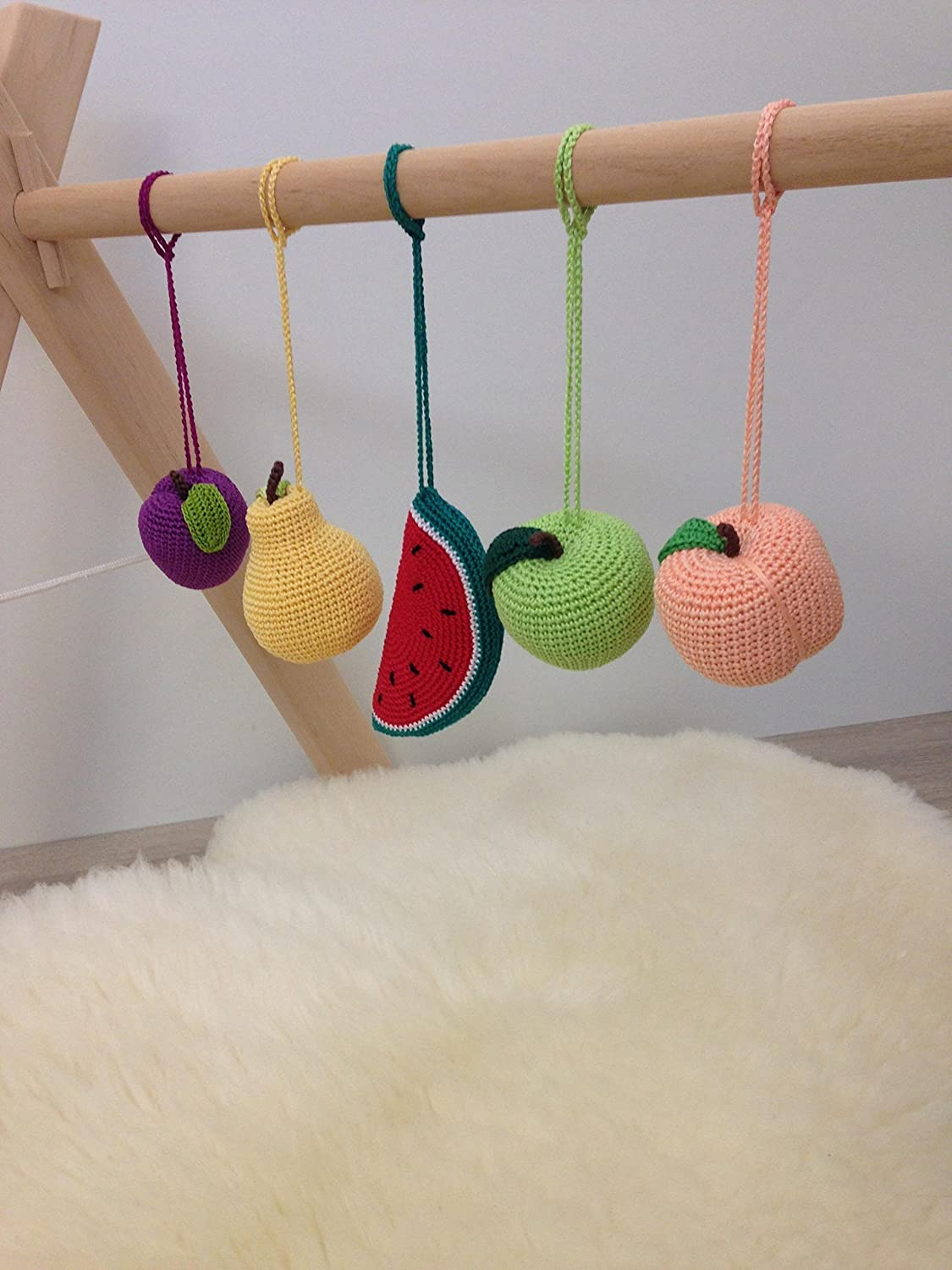 Crib gym for babies - Amazon Com Set Of 5 Hanging Fruits Baby Gym Toy Crib Toy Shower Gift Organic Crochet Pretend Food Baby Rattle Hanging Toy Newborn Gift Handmade
