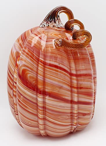 New Large 11 Hand Blown Glass Murano Art Style Pumpkin Sculpture Fall Orange White