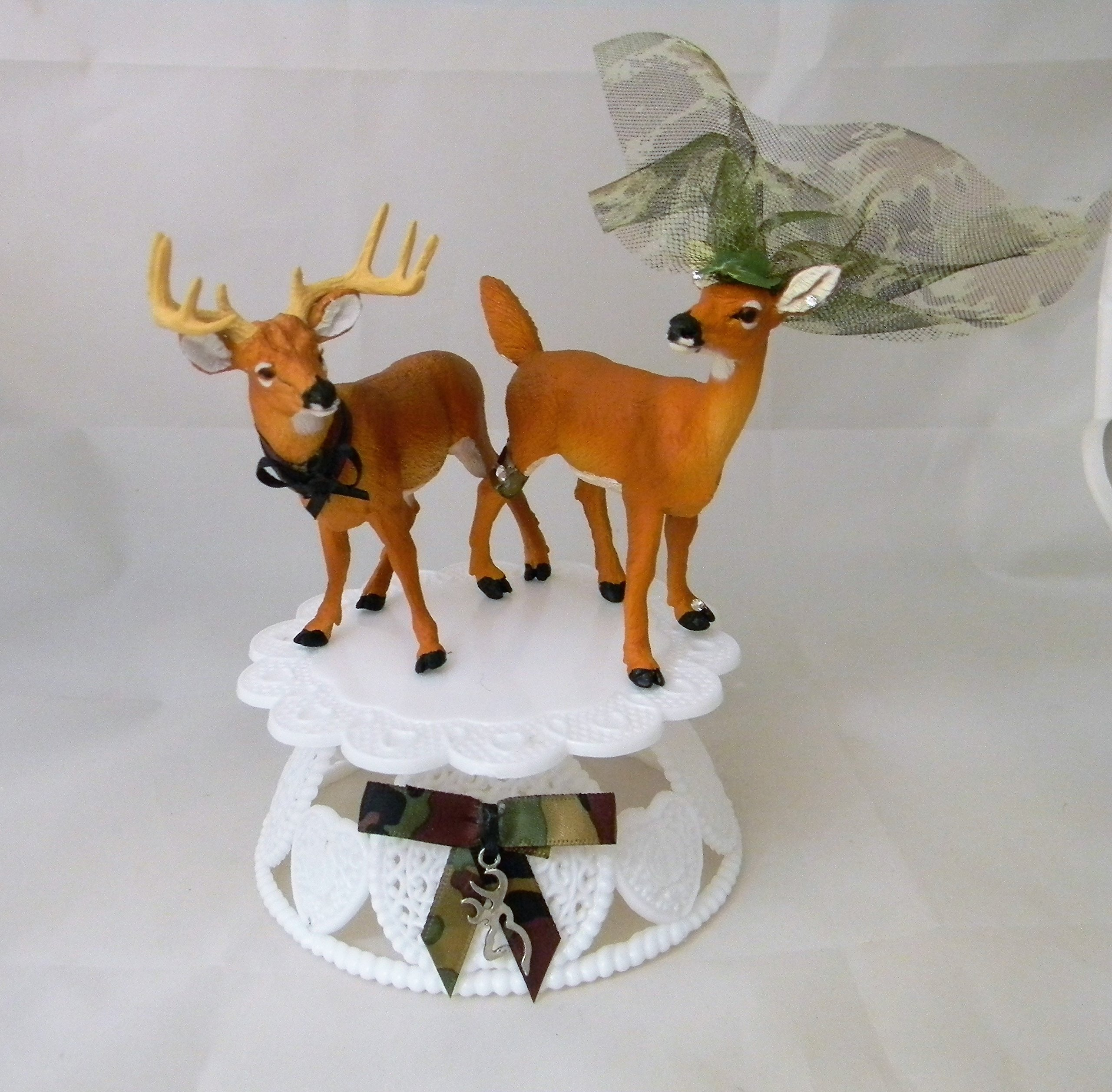 Wedding Reception Party Buck Doe Deer Hunter Cake Topper