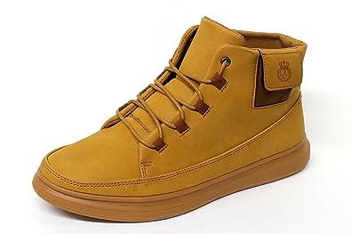 Hombre Informal Italiano Moderno Cordones Tobillo Cómodo Botas Safari Zapatos - Marron, 41