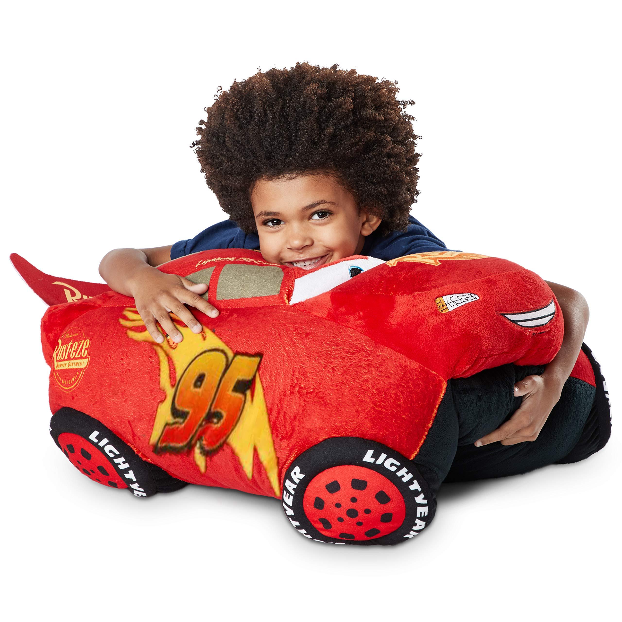 Pillow Pets Jumboz Disney Pixar Cars 3, Lightning Mcqueen, 30'' Jumbo Folding Plush Pillow