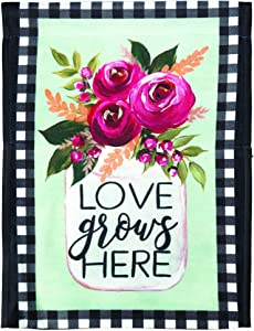 Love Grows Here Pink Rose 8 x 14 Large Polyester Outdoor Hanging Garden Flag