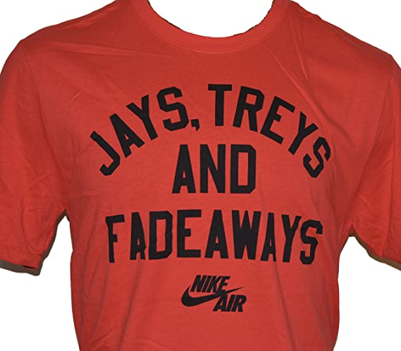 eefc8d6f ... Nike Mens Nike Jays, Treys And Fadeaways Basketball T-Shirt Large Red  at Amazon ...