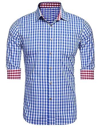Burlady Karohemd Herren Hemd Langarm Trachtenhemd Karierte Hemden Cargo  Bügelleicht Freizeit Bursiness Männer