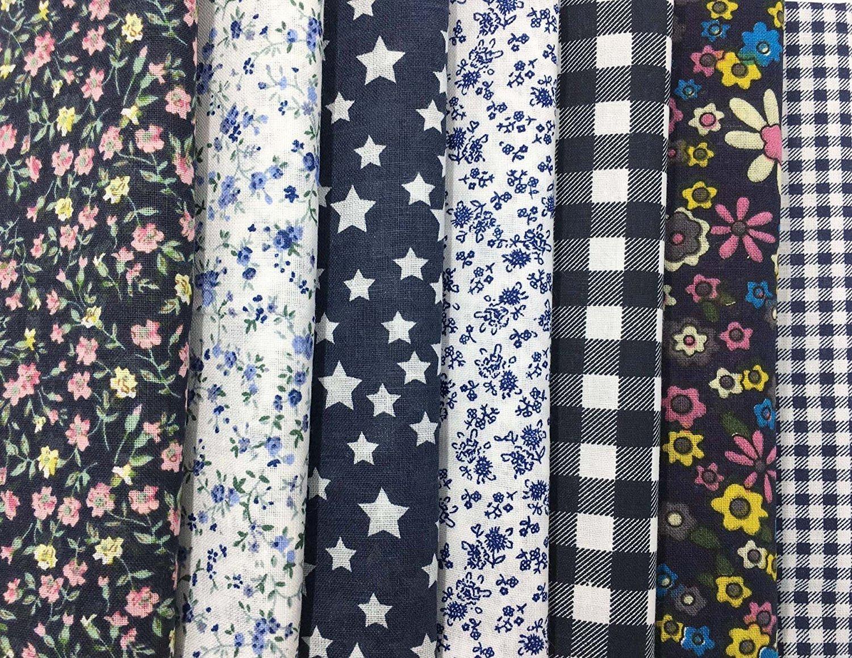 7 Pcs Telas Cuadrados de Algod/ón Tela Estampado Fabric para Tejido Pactchwork Costura Pelusas DIY Artcraft Trabajo /Álbumes de Recortes Acolchado de Lunares 50*50cm Color Azul