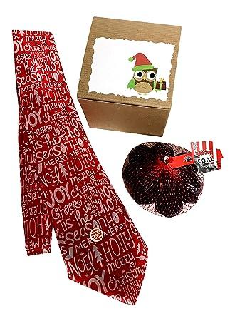 Amazon.com : Musical Tie + Chocolate Coal, Christmas Owl Gift Boxed ...