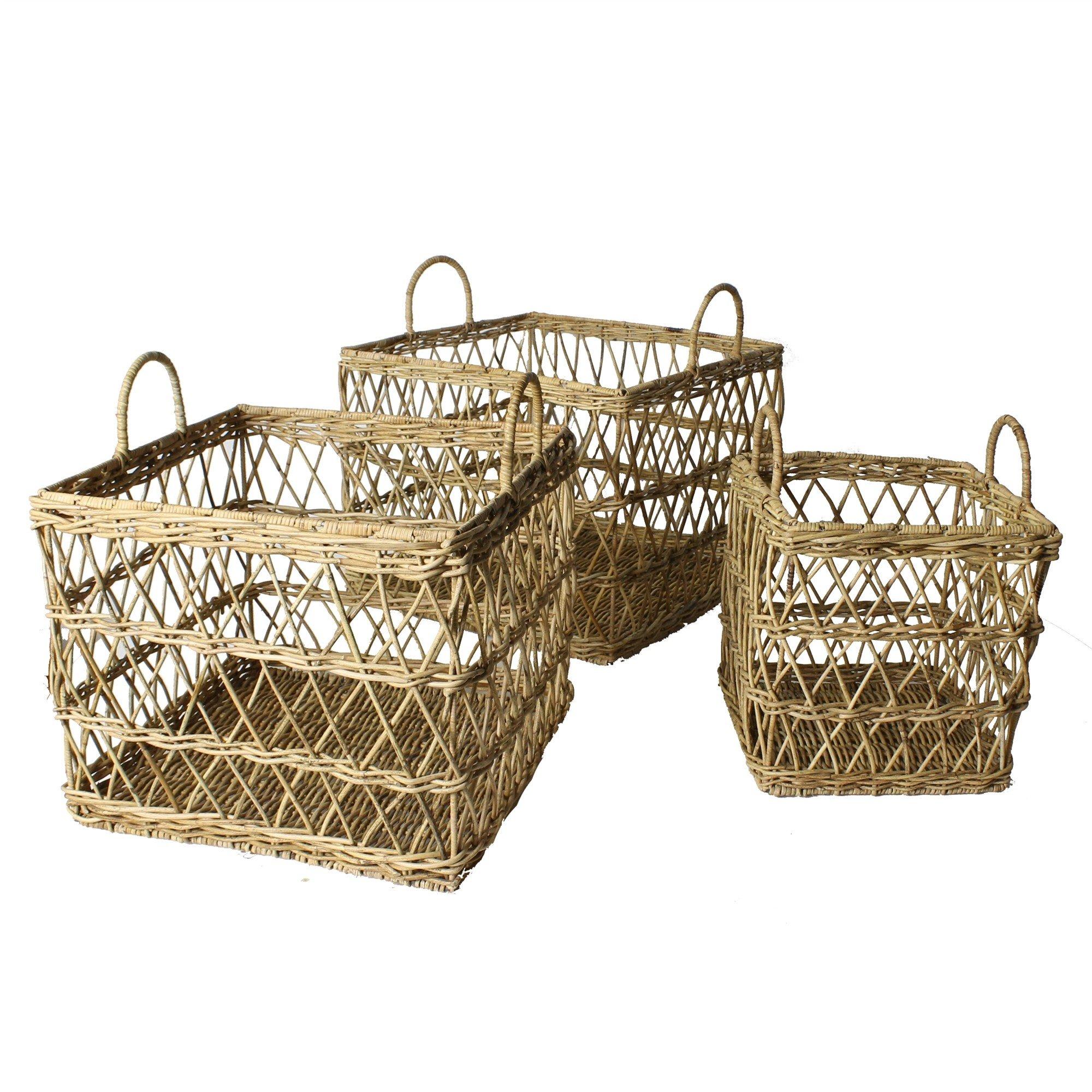 Elegant Lattice Rattan Storage Basket Set | 3 pc Handles Nesting