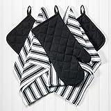 Dish Towels, Pot Holders and Oven Mitt 5-piece Premium Kitchen Linen Set by Saybrook, 100% Cotton, Black/White