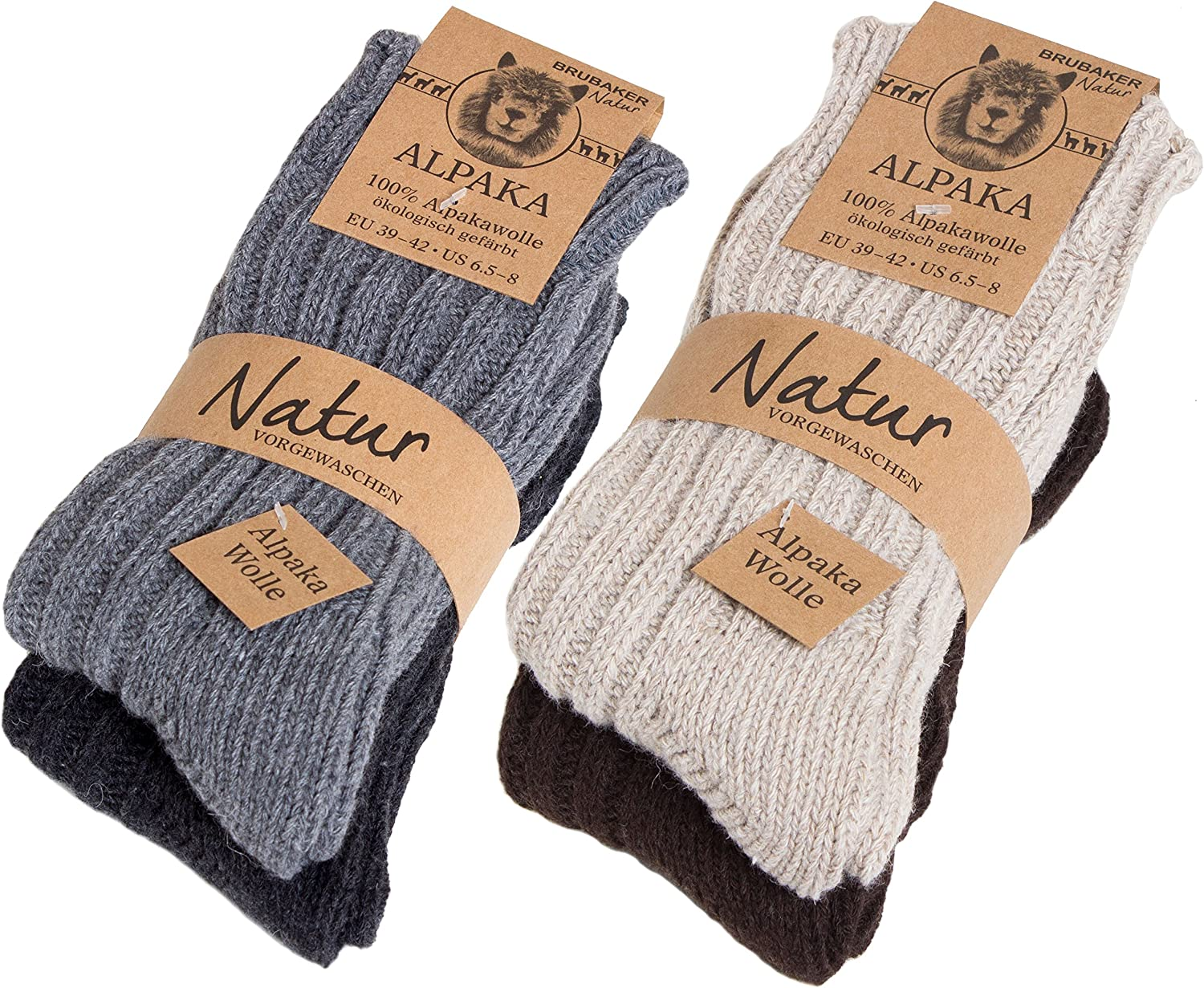 BRUBAKER Thick Alpaca Winter Socks For Men Or Women 100% Alpaca - 4 Pairs: Clothing