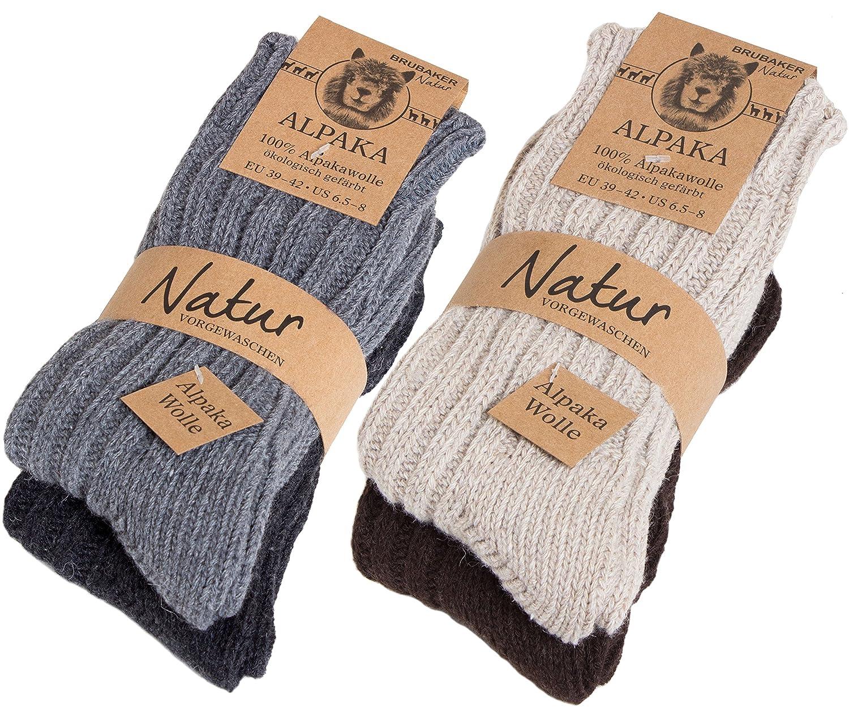 Brubaker 4 pares de calcetines hombre de pura lana de alpaca naturales y grises: Amazon.es: Ropa y accesorios