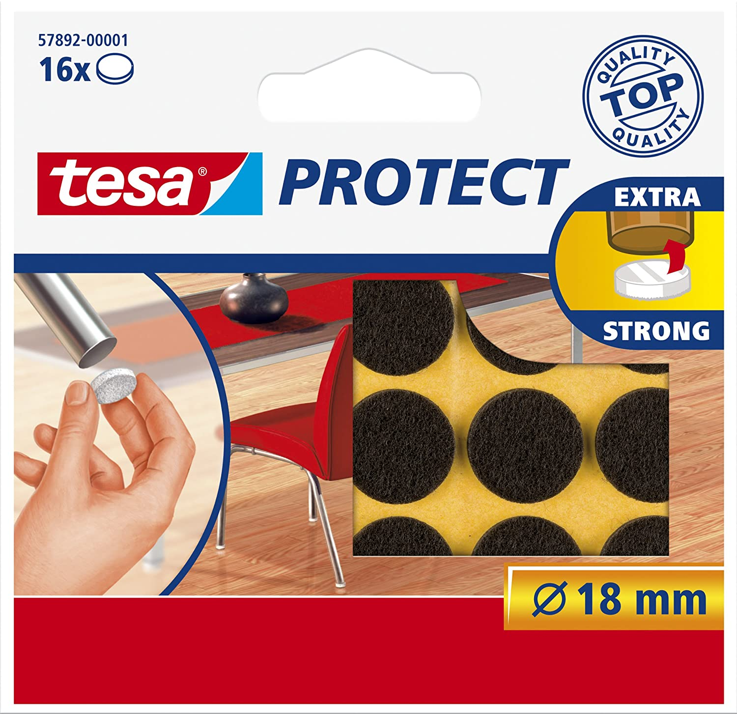 tesa UK Protect Anti Scratch Self Adhesive Felt, 26 mm Dia - White, 9 Pads 57894-00000-00