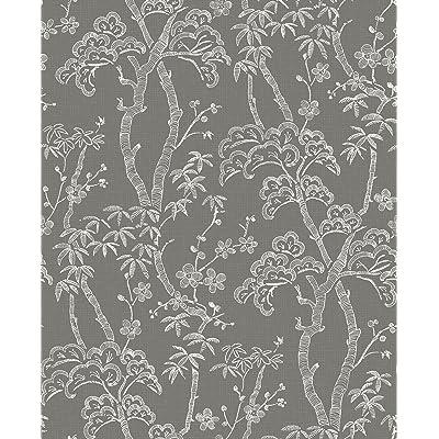A-Street Prints 2764-24351 Grey Bonsai Tree Wallpaper: Home Improvement