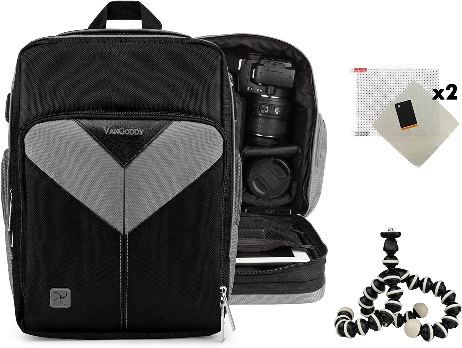 Sparta Backpack Protective Carrying Bag for Canon EOS 40D 400D 450D Digital Rebel XTi Kiss X2 Digital X and Screen Protector and Mini Tripod