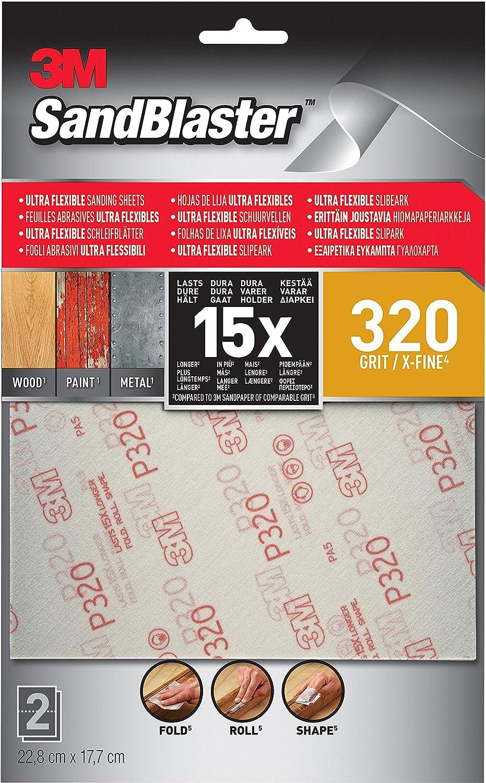 3M 28320SBE-UF2 SandBlaster X-Fine Ultra Flexible Sanding Sheets, Silver, 320 Grit 22.8 x 17.7 cm, Set of 2 Piece