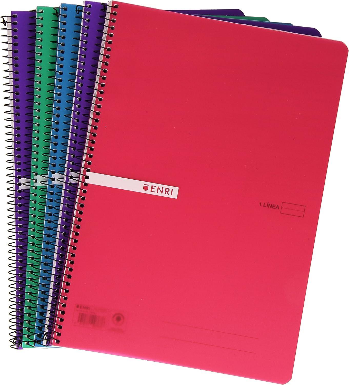 Enri 400043835 - Pack de 5 cuadernos con espiral simple, horizontal, tapa de plástico: Amazon.es: Oficina y papelería