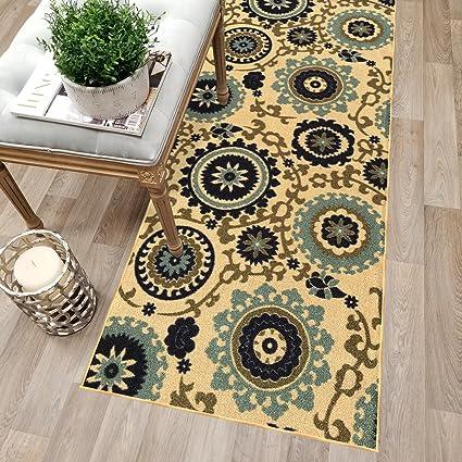 Kapaqua Custom Size Beige Floral Medallion Rubber Backed Non Slip Hallway Stair  Runner Rug Carpet