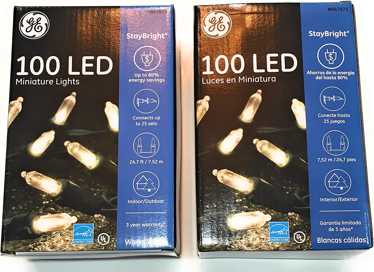 Simple Quality GE Mini LED Light Set 100 Lights Warm White Lights Bundle of Two Packs of 100