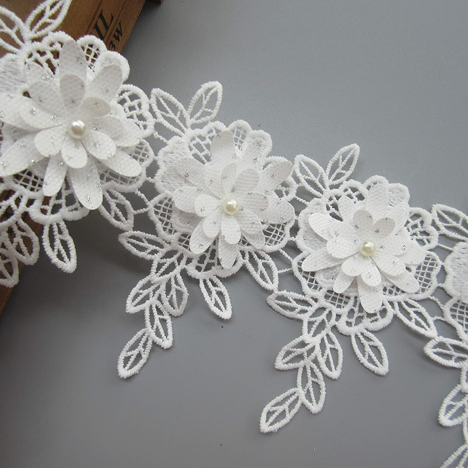 1 Meter 3-layer Flower With Pearl Beads Buds Leaves Fringed Lace Edge Trim Ribbon 6.3/×10.2cm Vintage Style White Flower Fabric Edging Trimmings Embroidered Applique Sewing Craft Wedding Bridal Dress