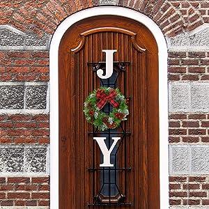 Christmas Decorations Joy Wreaths Joy Sign Artificial Spruce Christmas Wreath Buffalo Check Plaid Bow Wreath Christmas Holiday Decor for Home Window Wall Farmhouse Indoor Outdoor (White JY)