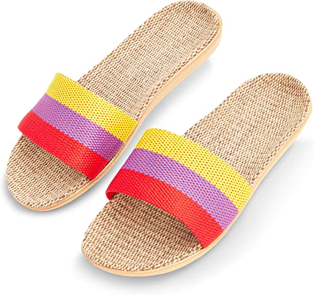 Amazon.com | Zodaca House Slippers for Women, Linen and Jute House Shoes for Women (L, 8.5-9, Tri Color) | Slippers