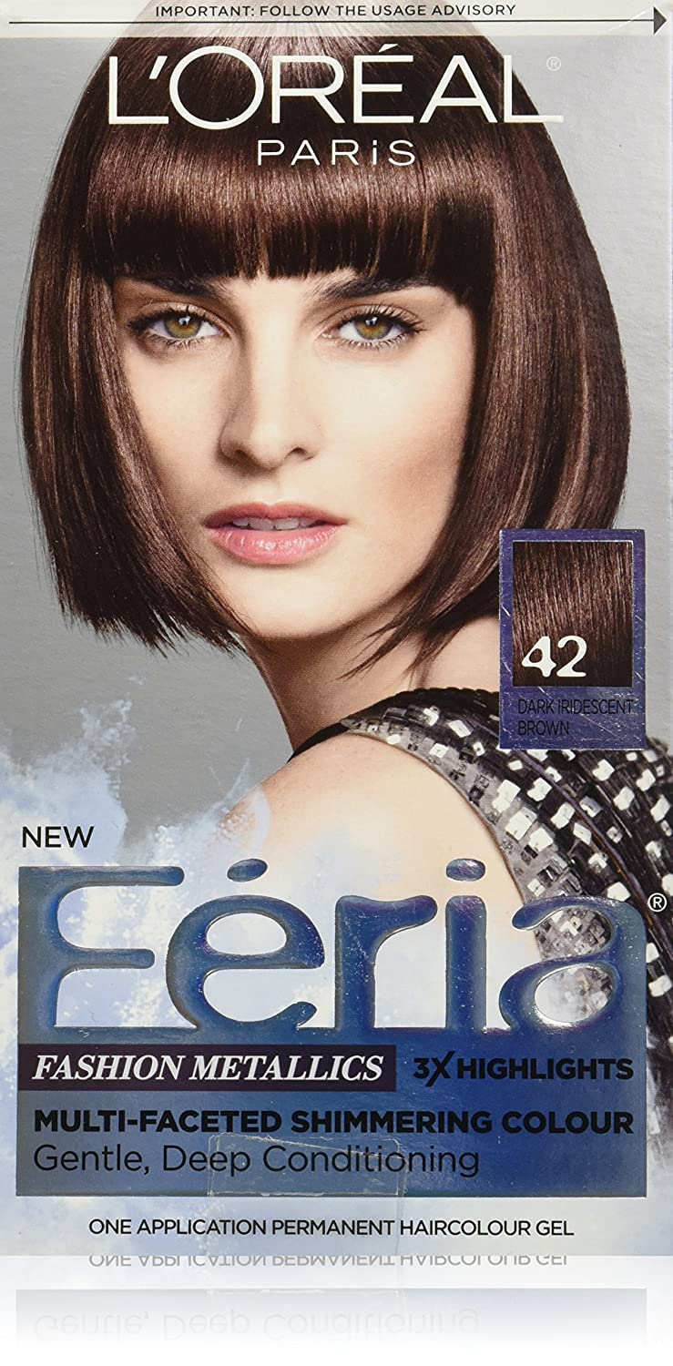 L'Oreal Paris Feria Multi-Faceted Shimmering Permanent Hair Color, 42 Chrome Plum (Dark Iridescent Brown), Pack of 1, Hair Dye