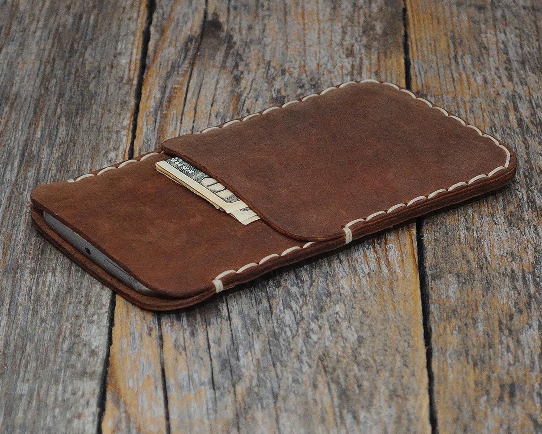 Coque Marron pour iPhone 8, 7, 6/6s en Cuir Véritable. Portefeuille avec Poche de Carte de Crédit. Housse Étui Case Cover Pochette