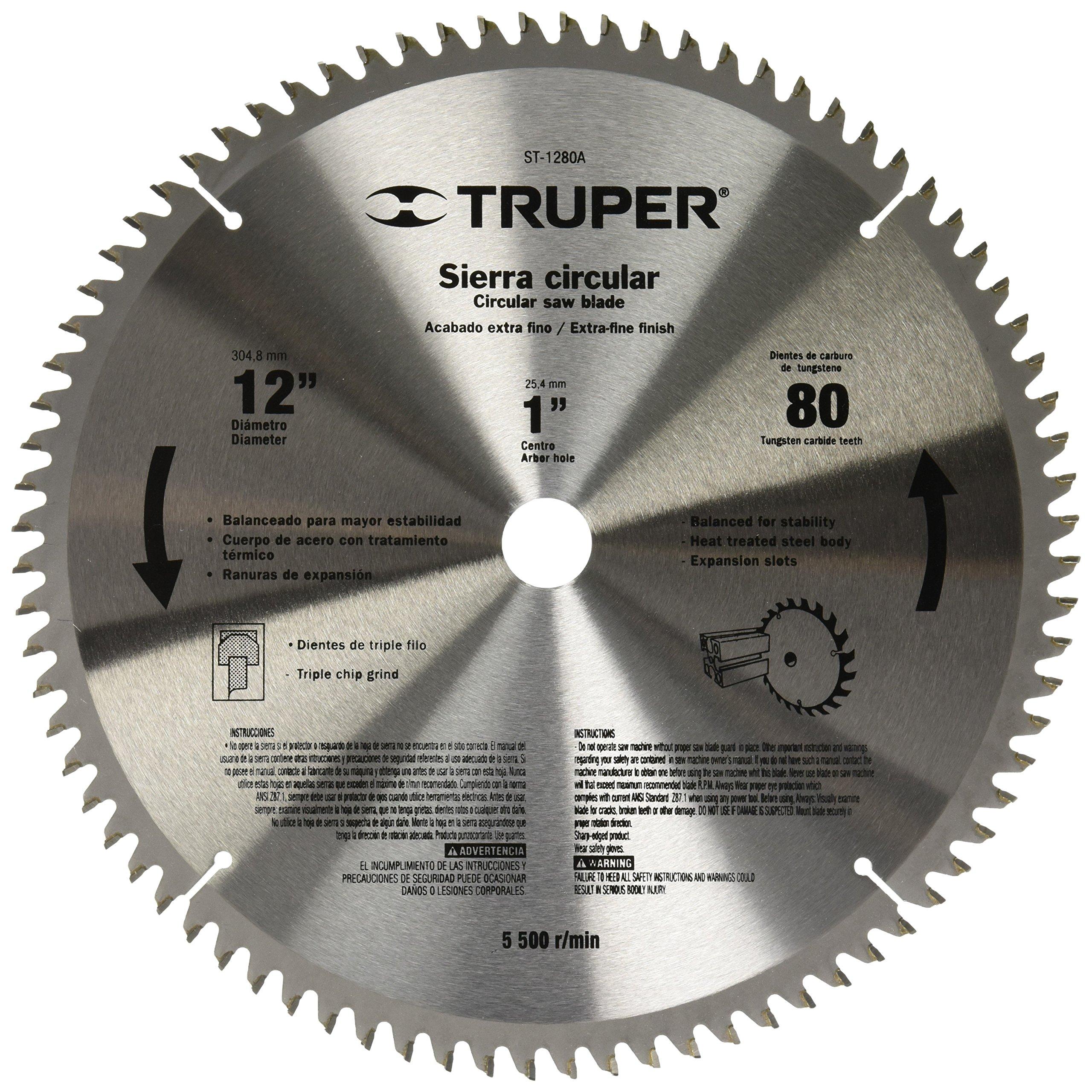 TRUPER ST-1280A 12'' Aluminum Cutting Saw Blade, 80 teeth, center 1