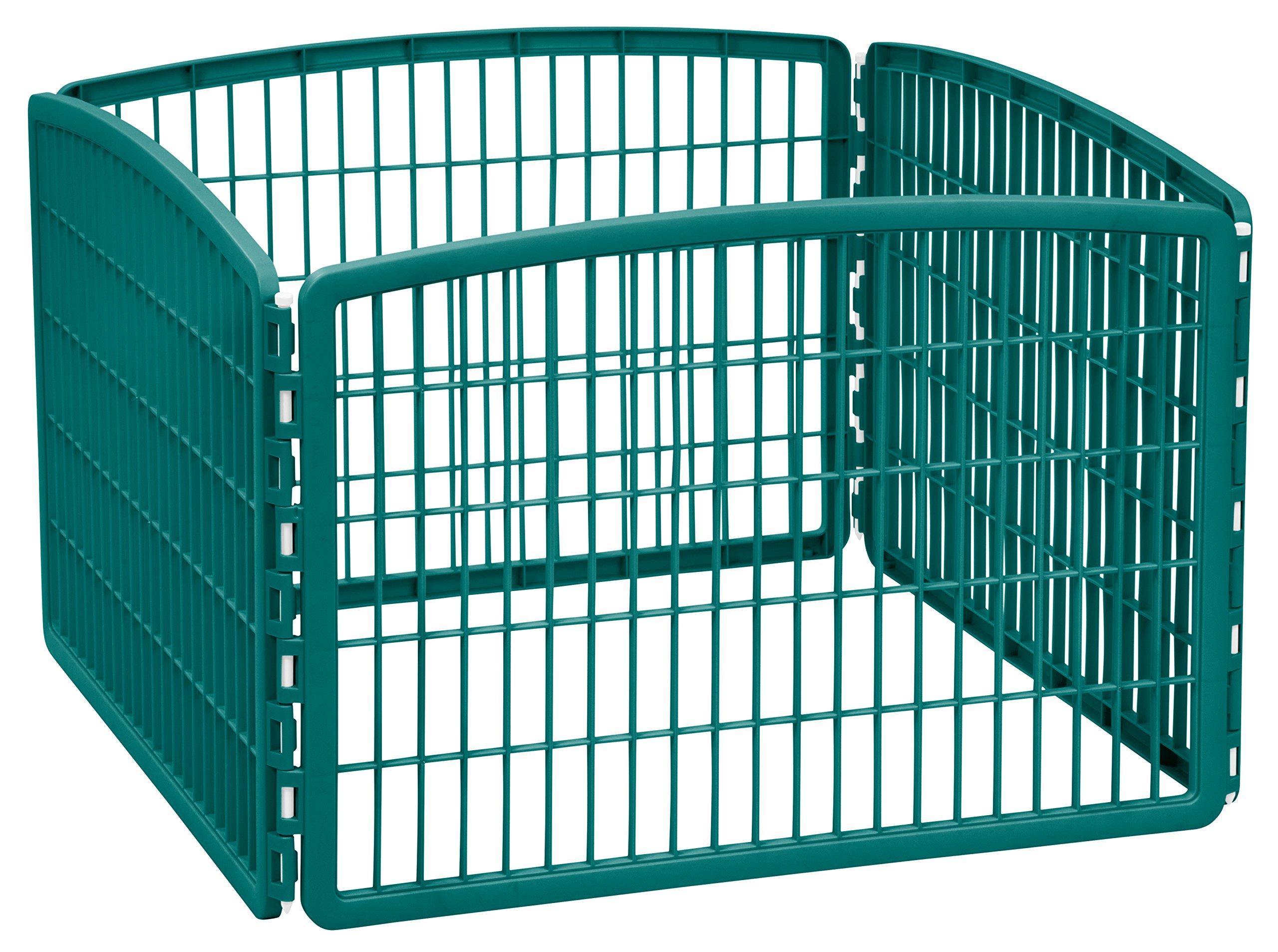 IRIS 24'' Exercise 4-Panel Pet Playpen without Door, Turquoise