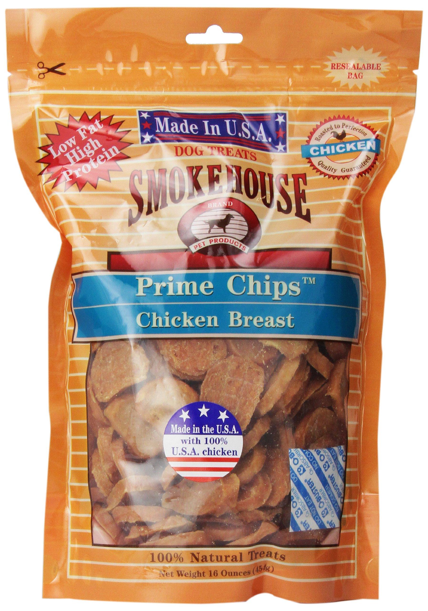 SMOKEHOUSE TREATS Smokehouse 100-Percent Natural Prime Chips Chicken Dog Treats, 16-Ounce
