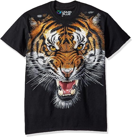 ddec4af3b Amazon.com: Liquid Blue Men's Tiger Face T-Shirt, Black, Medium ...
